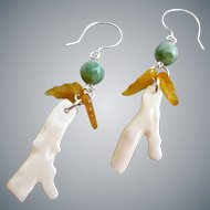 Drop Earrings of Vintage White Branch Coral with Green and Yellow Jade