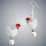 Lampwork Glass Chickens with Sterling Silver, Freshwater Pearls and Crystals