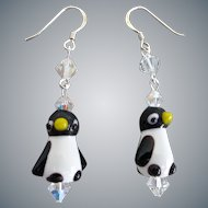 Lamp work Glass Penguin Earrings with Swarovski Crystals and Sterling Silver