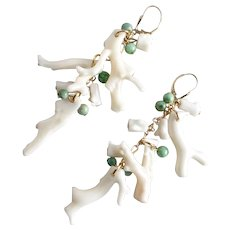 Drop Earrings of Vintage Creamy White Branch Coral and Green Jade