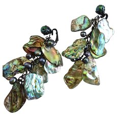 Earrings of Cascading Natural Abalone and Grey Freshwater Pearls,  Clip Tops