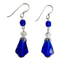 Drop Earrings of Vintage Cobalt Blue Faceted Glass Teardrops