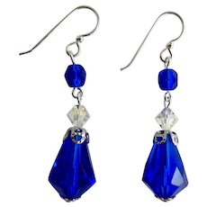Drop Earrings of Vintage Cobalt Blue Faceted Glass Teardrops