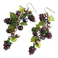 Earrings of Hanging Clusters of Vintage Handblown Grapes and Pressed Glass Leaves