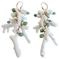 Drop Earrings of Vintage Japanese white Branch Coral with Green Jade