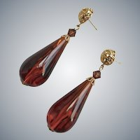 Earrings of Amber Colored Vintage Lucite Teardrops