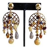 Asymmetrical Artisan Drop Earrings of Brown and Amber Colored Gemstones