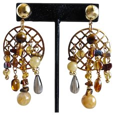 Asymmetrical Artisan Drop Earrings of Brown and Amber Colored Gemstones