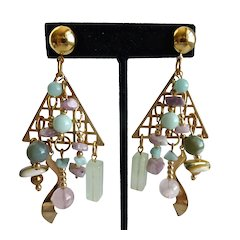 Asymmetrical Artisan One of a Kind Drop Earrings of Gemstone Beads