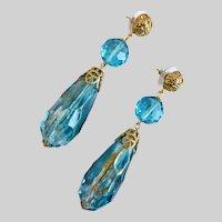 Long Ocean Aqua and Clear Vintage Acrylic Teardrop and Crystal Earrings