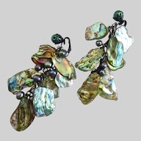 Artisan Earrings of Vintage Natural Abalone Pieces and Grey Freshwater Pearls, Clips