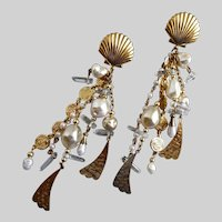 Long Shoulder Duster Earrings of Faux Pearls, and Quartz, Gold Tone, 1980s