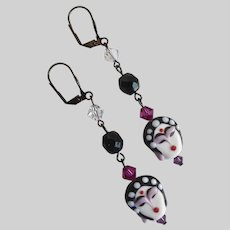 Drop Earrings of Exquisite Handcrafted Porcelain Asian Faces