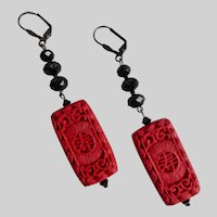 Long Cinnabar Artisan Earrings with Black Crystals
