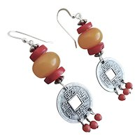 Drop Earrings of Chinese Coins, Amber Resin and Red Coral