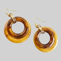 Bakelite Drop Earrings in Butterscotch and Caramel