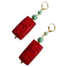 Cinnabar Resin Carved Dragon and Jade Earrings