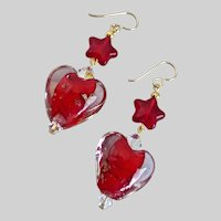 Red Lamp Work Glass Hearts and Stars Earrings