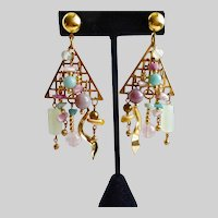 Asymmetrical Artisan Drop Earrings of Gemstones, Pierced