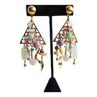 Asymmetrical Artisan Drop Earrings of Gemstones, Pierced