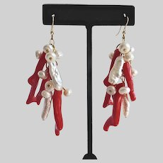 Artisan Drop Earrings of Freshwater Pearls and Faux Red Branch Coral