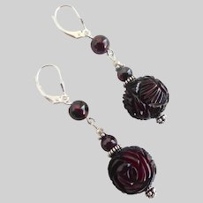 Vintage Carved Rose Cherry Amber Bakelite beads with Garnets on Sterling Silver