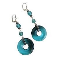 Long Drop Artisan Earrings of Ombré Teal/Aqua Donuts