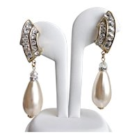 Glamorous Faux Pearl Drop Earrings with Crystal Rhinestones, Clip Backs