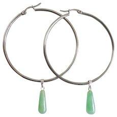 """Stainless Steel Hoop Earrings with Jade Drops, 2"""" Diameter"""