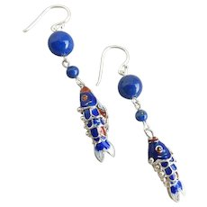 Sterling Silver Articulated Enamel Cloisonné Fish with Lapis Beads