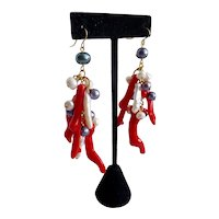 Long Drop Earrings of Grey and White Freshwater Pearls and Faux Red Coral