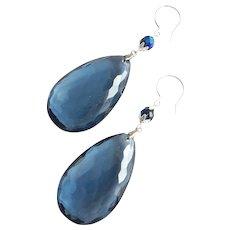 Faceted Blue Vintage Lucite Teardrop Earrings, Sterling Tops