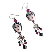 Artisan Earrings of Exquisite Double sided Handcrafted Porcelain Faces with Swarovski Crystals