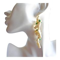 Artisan Drop Earrings of Vintage Japanese White Branch Coral with Green Jade