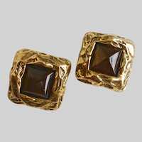 LES BERNARD Bold and Chunky Clip Back Earrings