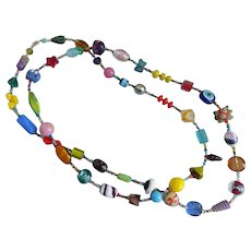 """Long Artisan Multicolored Glass Bead Necklace, 36"""""""