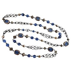 Long Sapphire Blue Glass and Bronze Beaded Necklace, 40 Inches