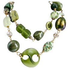 Long, Bold, Eclectic Necklace of Mixed Green Components and Rhinestone Balls, 37 Inches
