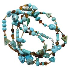 Long Turquoise, Magnesite and Tortoise Glass Artisan necklace, 58 Inches