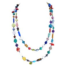 Long Skinny Multicolored Gemstone Artisan Necklace, 43 Inches