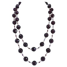 Long Deep Purple Faceted Czech 14mm Glass Beads Necklace, Vintage, 46 Inches