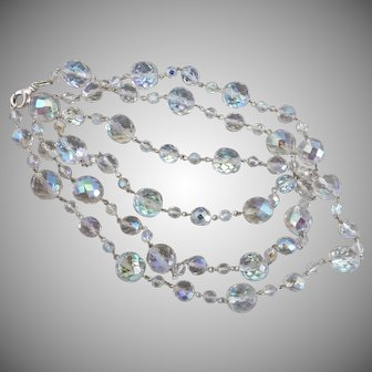 Opulent Long Czech Crystal Necklace with Aurora Borealis Finish, 48""