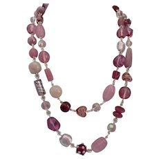 """Long Necklace of Multi Shades of Pink Art Glass, Crystal, and Rose Quartz, 44"""""""