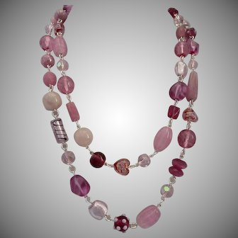 Long Necklace of Multi Shades of Pink Art Glass, Crystal, and Rose Quartz, 44""