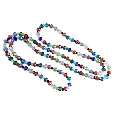 Multi Colored Faceted Glass Long Necklace, 48""