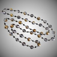 Long Sparkling Necklace of Faceted Smokey Grey and Light Bronze Glass Beads, 49 Inches