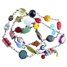 Long Multicolored Artisan Statement Necklace, 53 inches