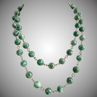 "Qinghai Jade Long Necklace, 38"""