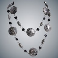 Long Necklace of Vintage Dark Silver Tone Medallion Beads, 44 Inches