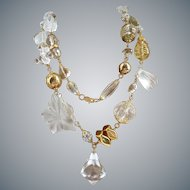 Chunky, Long,Lucite, Crystal and Gold Tone Necklace, 45 Inches